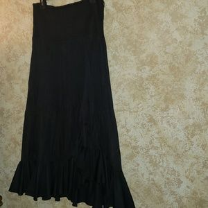 WHBM Black Maxi Party Skirt Ruffled Bottom